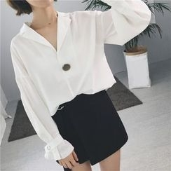 Bloombloom - Peaked Lapel Blouse