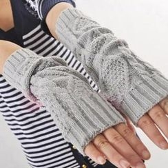 Momiton - Fingerless Long Knit Mittens