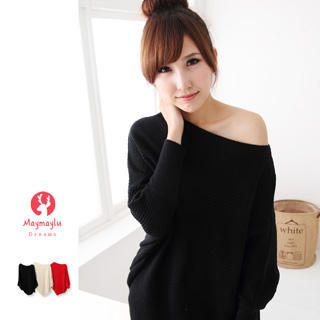 Off-Shoulder Dolman-Sleeve Knit Sweater