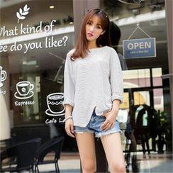 11.STREET - Striped Asymmetrical T-Shirt