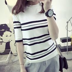 FR - Striped Elbow-Sleeve Knit Top