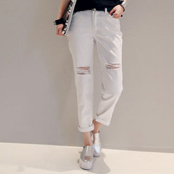 NANING9 - Cotton Blend Distressed Pants