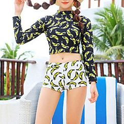Roseate - Set: Banana Print Cropped Rashguard + Swim Bottom