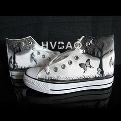 HVBAO - 'Moonlit Night' High-Top Canvas Sneakers