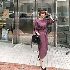 MARSHMALLOW - 3/4-Sleeve Midi Dress with Sash