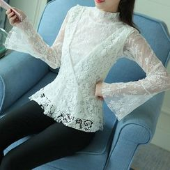 Shiga - Set : Bell-Sleeve Lace Blouse + Lace Vest