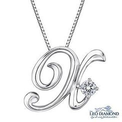 Leo Diamond - Initial Love 18K White Gold Diamond Pendant Necklace (16') - 'X'