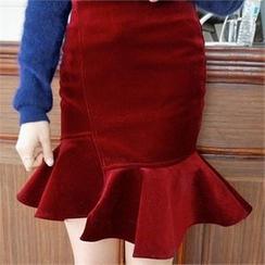 LIPHOP - Velvet Ruffle-Hem Skirt