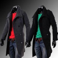 Aozora - Slit-Back Double-Breasted Coat