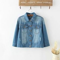 TOJI - 3/4-Sleeve Washed Cropped Denim Jacket