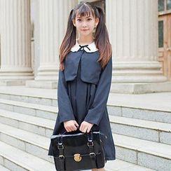 Rega - Set: Cropped Jacket + Sleeveless Double Breasted Pleated Dress