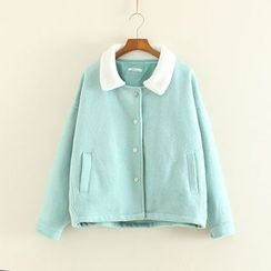 Mushi - Fleece Collar Knit Jacket