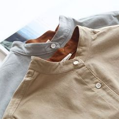 Bonbon - Corduroy Long-Sleeve Stand-collar Blouse