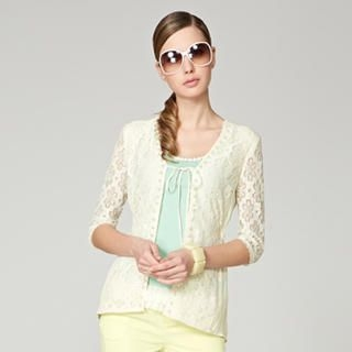 O.SA - Lace-Panel Drawstring Cardigan