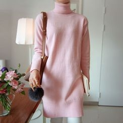 LEELIN - Turtle-Neck Knit Dress