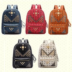 BeiBaoBao - Studded Faux-Leather Backpack