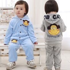Youtale - Kids Set: Monkey Applique Hooded Jacket + Pants