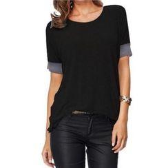 Eloqueen - Short-Sleeve Panel T-Shirt