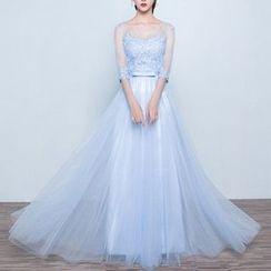 Luxury Style - Mesh Panel Elbow-Sleeve Evening Dress