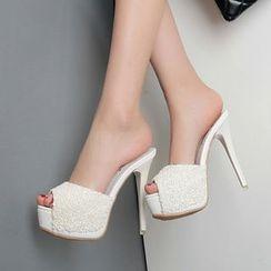 Monde - High Heel Platform Slide Sandals