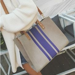 Aishang - Striped Canvas Shopper Bag