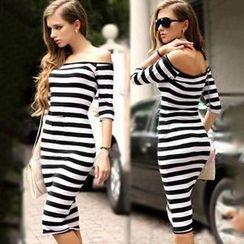Chika - Off-Shoulder Striped Sheath Dress