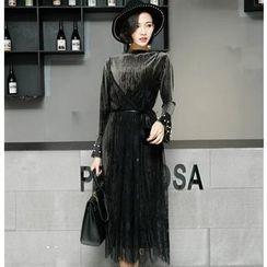 Ekim - Set: Faux Pearl Velvet Long Sleeve Top + Lace Slipdress