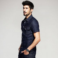 Quincy King - Short-Sleeved Denim Shirt