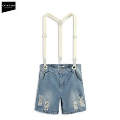 CatWorld - Suspender Distressed Denim Shorts