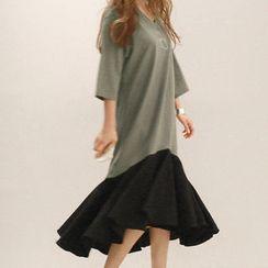 NANING9 - Oversized Ruffle-Hem Dress