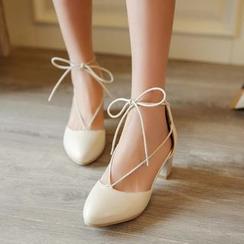 錦洋鞋業 - 蝴蝶結繫帶高跟鞋