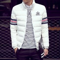 LC Homme - Contrast-Stripe Padded Printed Zip Jacket