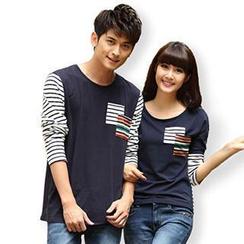 Igsoo - 情侶長袖條紋 T 恤