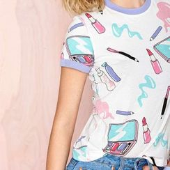 Richcoco - Make-Up Print Short-Sleeve T-Shirt