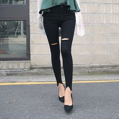 DABAGIRL - Slit-Knee Cutout-Hem Skinny Pants