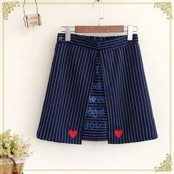 Fairyland - Lettering Striped A-Line Mini Skirt