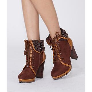 yeswalker - Fleece-Trim Lace-Up Boots