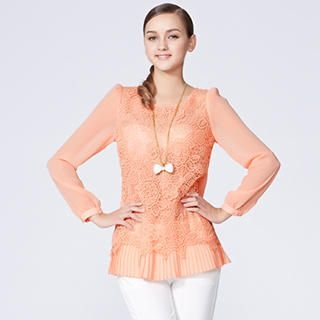 O.SA - Lace-Front Pleated-Hem Chiffon Blouse