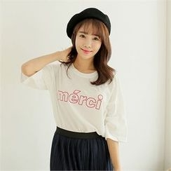 clicknme - 3/4-Sleeve Lettering Cotton T-Shirt