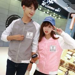 TOOI - Couple Matching Printed Color Panel Zip Jacket