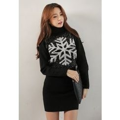 REDOPIN - Turtle-Neck Glittered-Trim Knit Dress