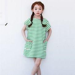 Cuckoo - Kids Striped Short Sleeve T-Shirt Dress