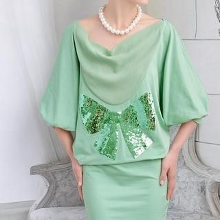 Dabuwawa - Sequined Bow Puff Elbow-Sleeve Dress