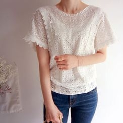 LEELIN - Smock-Hem Eyelet-Lace Top