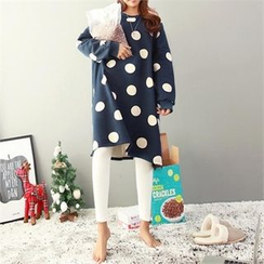 PEPER - Drop-Shoulder Dotted Shift Dress