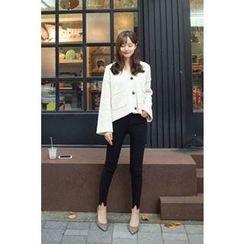 CHERRYKOKO - V-Neck Buttoned Wool Blend Cardigan