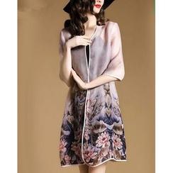 la nuit - Floral Print Elbow-Sleeve Light Jacket