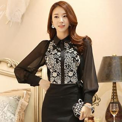 Styleonme - Sheer Sleeve Embroidered Chiffon Blouse