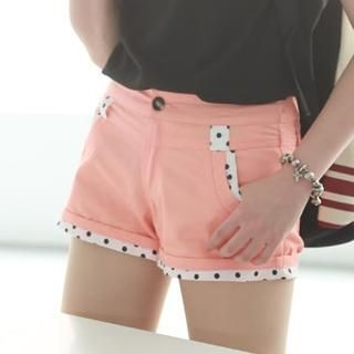 rico - Polka Dot-Trim Cuffed Shorts