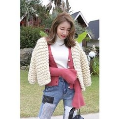 PPGIRL - Open-Front Chunky Cardigan